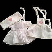 Three Piece White Nurse Doll Outfit 1950s