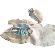 Ideal Organdy Dress, Slip, Bonnet 1950s