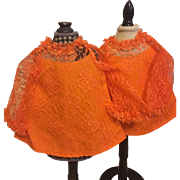 Two Orange Lace Ideal Chrissy Doll Dresses Un-Used