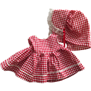 Red and White Gingham Dress and Sunbonnet for Toddler Dolls