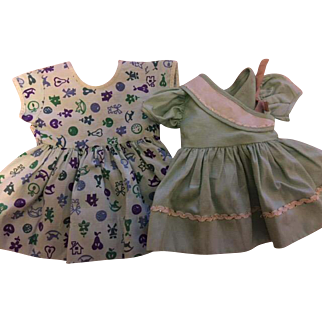 Two Green Dresses for Hard Plastic Dolls 1950s