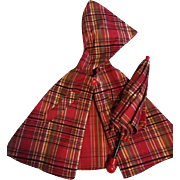Shirley Temple Red Plaid Cape and Umbrella 1940s