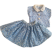 Two Piece Pique Outfit for Hard Plastic Dolls 1950s