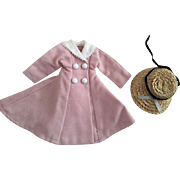 Pink Double Breasted Coat and Straw Hat 1950s