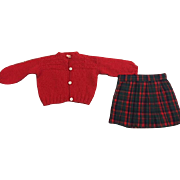 Red Sweater and Plaid Pleated Skirt for Effanbee Patsy Ann and Friends 1930s