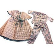 Pink Quilted Robe and Pajamas for Hard Plastic Dolls 1950