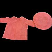 Arranbee Nancy Hot Pink Pique Coat and Hat 1930s