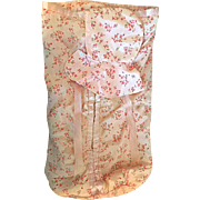 Pink Rosebud Taffeta Baby Bunting Set 1940 Great for Baby Dolls