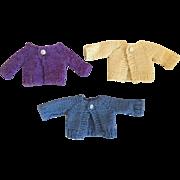 Three Small Cardigan Doll Sweaters 1950s