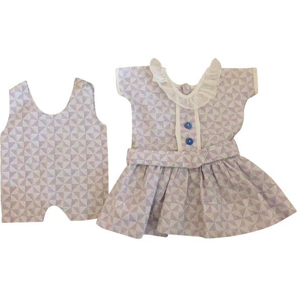 Lavender Print Dress for Composition Dolls 1930s