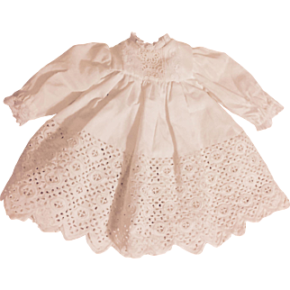 White dress with Ayrshire Lace for Bisque Dolls