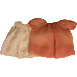 Deep Pink Organdy Dress and Slip for Composition Dolls 1930s