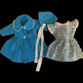 Coat, Hat, and Dress for Hard Plastic Dolls 1950s
