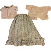 Antique Doll Skirt and Two Blouses 1900