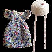 Batiste Print Dress and Hat for Hard Plastic Dolls 1940s