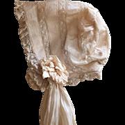 Beautiful Antique Silk Baby Bonnet