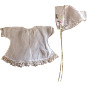 Beautiful Dimity Dress and Bonnet for Bisque Babies 1920