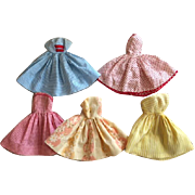 Five Factory Fashion Doll Dresses 1950s