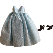 Taffeta and Tulle Fashion Doll Dress and Shoes Small Fashion Dolls 1950s