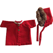 Red Wool Doll Coat and Bonnet 1940