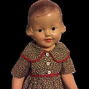 "All Composition 25"" Doll Molded Hair 1930s"