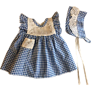 Two Piece Gingham and Eyelet Dress and Bonnet for Dy-Dee Lou 1950s