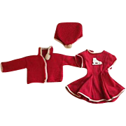 Three Piece Red Skating Ensemble 1930s