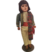 A.M. Bisque Scowling Indian Doll Original