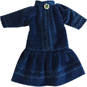 Cerulean Blue Velveteen Dress Bisque Dolls
