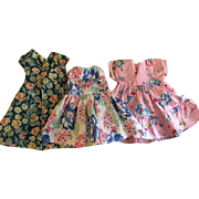 Three Darling Print Doll Dresses 1930s