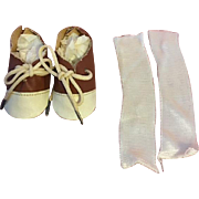 Brown and White Saddle Oxfords and Rayon Socks 1950