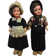 Antique Armand Marseille Bisque Dutch Boy and Girl