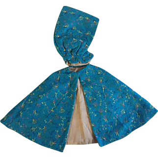 Turquoise Cape with Embroidery and Separate Hood for Composition Dolls 1940