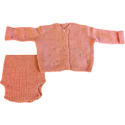 Peach Two Piece Sweater Set for Big Babies 1940