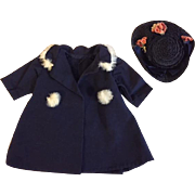 Blue Coat with Fur Trim and Straw Hat for Bisque Dolls 1920