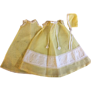 Three Piece Yellow Organdy Gown, Slip, Bonnet for Dy-Dee Kins 1950s