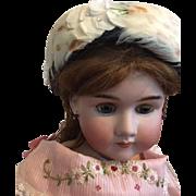 Navy Mid Twentieth Century Navy Straw Pillbox Hat for Bisque Dolls