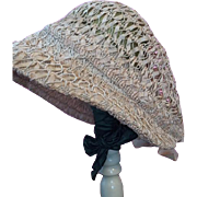 Vintage 1920s Ecru Bonnet Hat with Faggoting