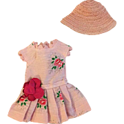 Pink Doll Dress and Straw Hat for 12 inch Ideal Shirley Temple