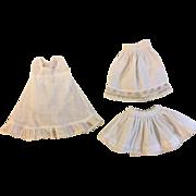 Three Vintage Slips for Bisque Dolls 1900