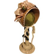 Flower and Lace Straw Hat for Bisque Dolls