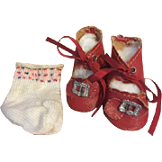 Brick Red Oilcloth Buckle Doll Shoes and Socks for Composition and Bisque