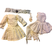Moire Taffeta Doll Dress, Slip, Bloomers, Purse for German or French Bisque