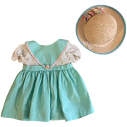 Green Pique Doll Dress and Straw Hat for Hard Plastic Dolls 1950s
