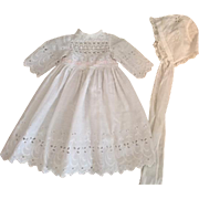 Antique Doll Gown and Bonnet for Bisque Baby Dolls 1910