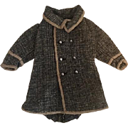 Gray Wool Tweed Fitted Military Doll Coat for Bisque Dolls 1910