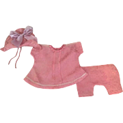 Three Piece Pink Satin Outfit for Bisque 1920