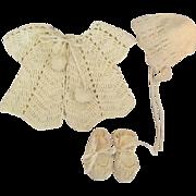 Sweater, Bonnet, Booties for Big Baby Dolls like Dy-Dee Lou 1940