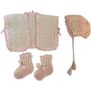 Three Piece Sweater Set for Dy-Dee Baby and Friends 1950