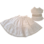Two Piece Antique Slip and Chemise for French or German Bisque